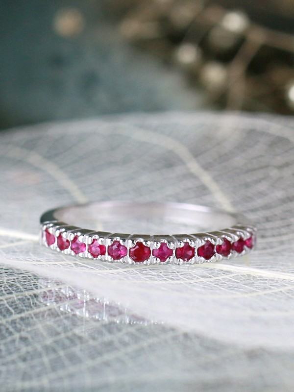 Natural Ruby Red Solid 14 Karat Gold Wedding Band