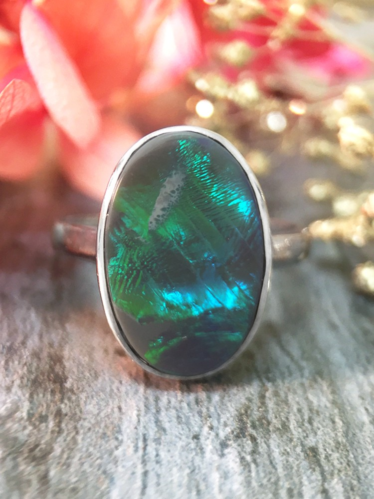ONE-OF-A-KIND: 1.97CT Australian Black Opal <Bezel> Solid 14K White Gold (14KW) Colored Stone Ring