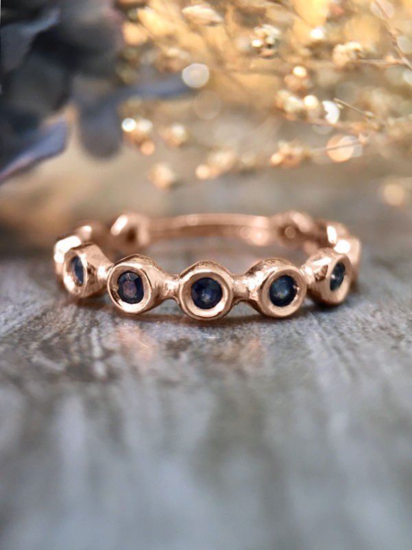 Blue Sapphire Eternity with Sizing Bar Band <Bezel> Solid 14K Rose Gold (14KR) Colored Stone Stackable Ring