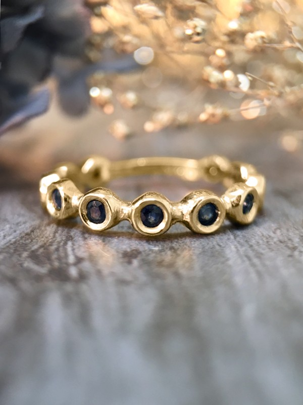 Blue Sapphire Eternity with Sizing Bar Band <Bezel> Solid 14K Yellow Gold (14KY) Colored Stone Stackable Ring