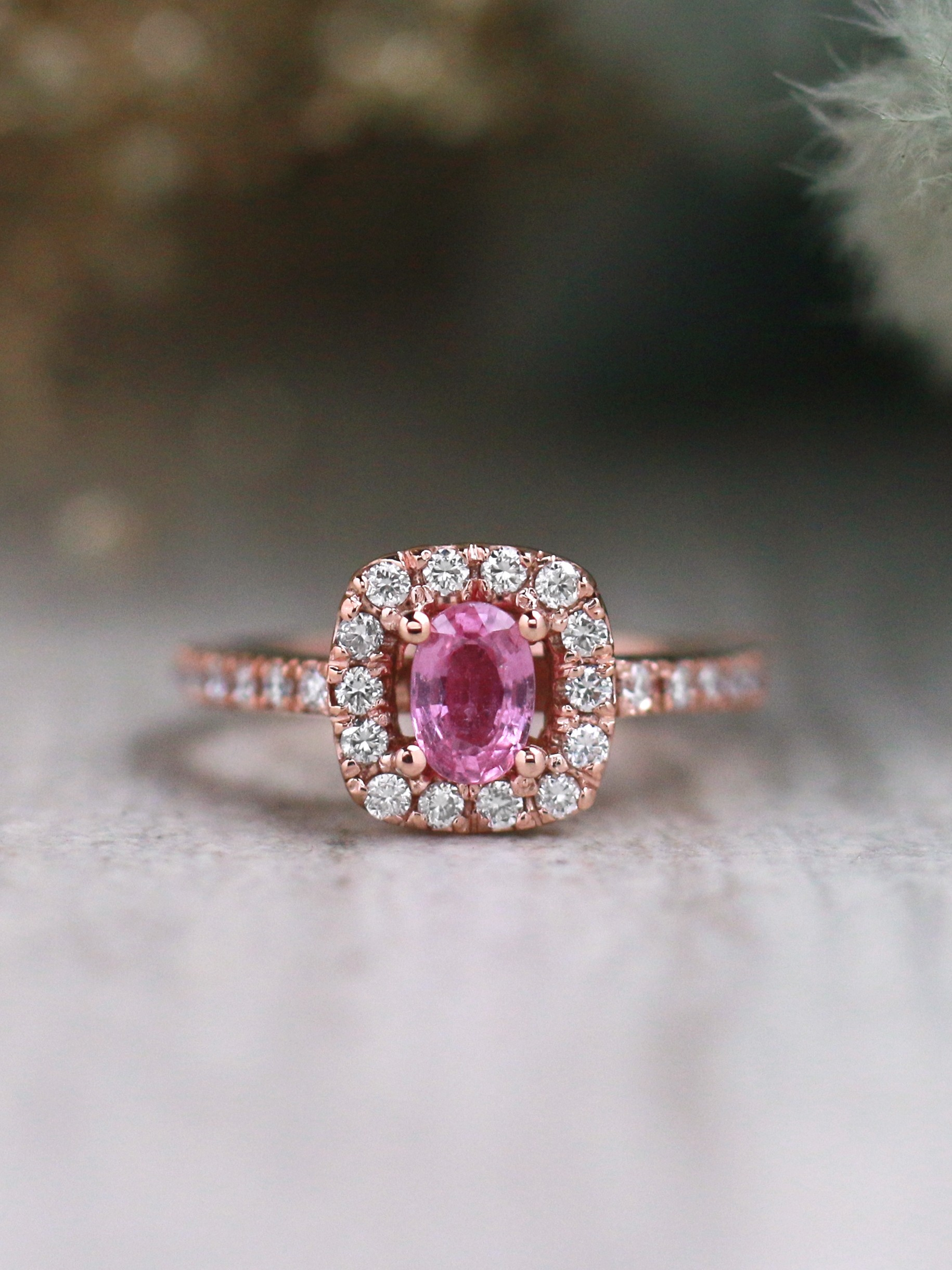 Pink Sapphire and Halo Diamond Engagement Solid 14 Karat Rose Gold Colored Stone Wedding Ring