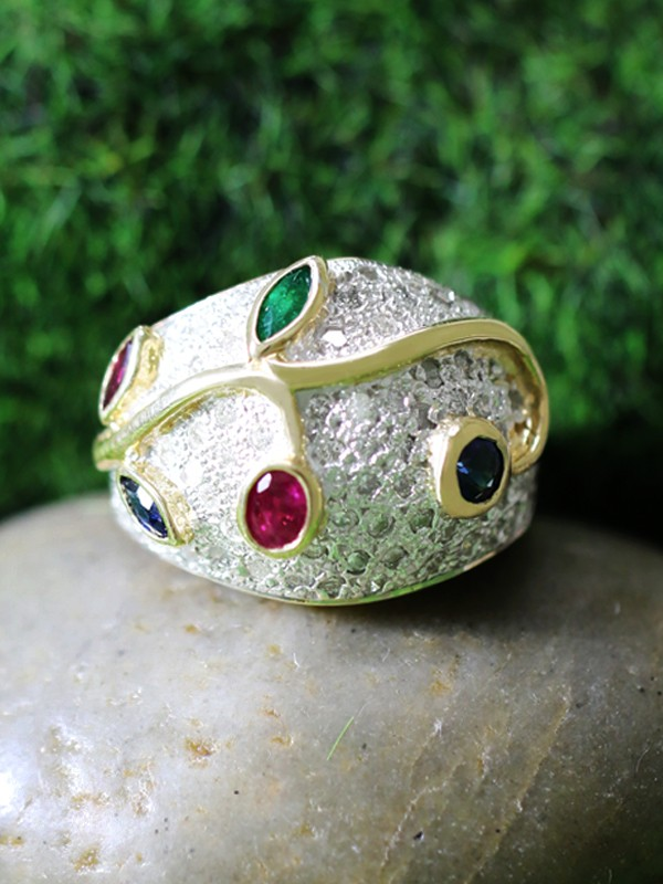 Ruby, Emerald, Sapphire, and Diamond Solid 14K White and Yellow Gold (14KW, 14KY) Cocktail Ring
