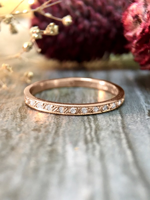 1.9MM Diamond with Filigree Etching Wedding Band <Pave> Solid 14K Rose Gold (14KR) Stackable Engagement Ring