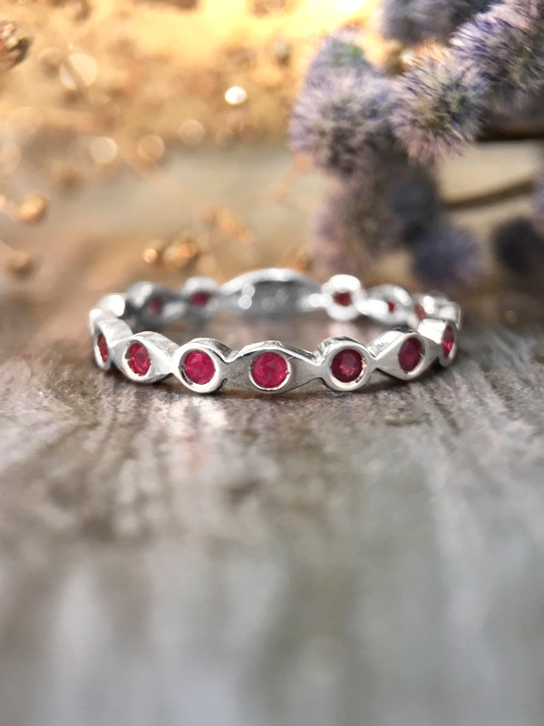 Ruby Eternity with Sizing Bar Band <Pave> Solid 14K White Gold (14KW) Colored Stone Stackable Ring