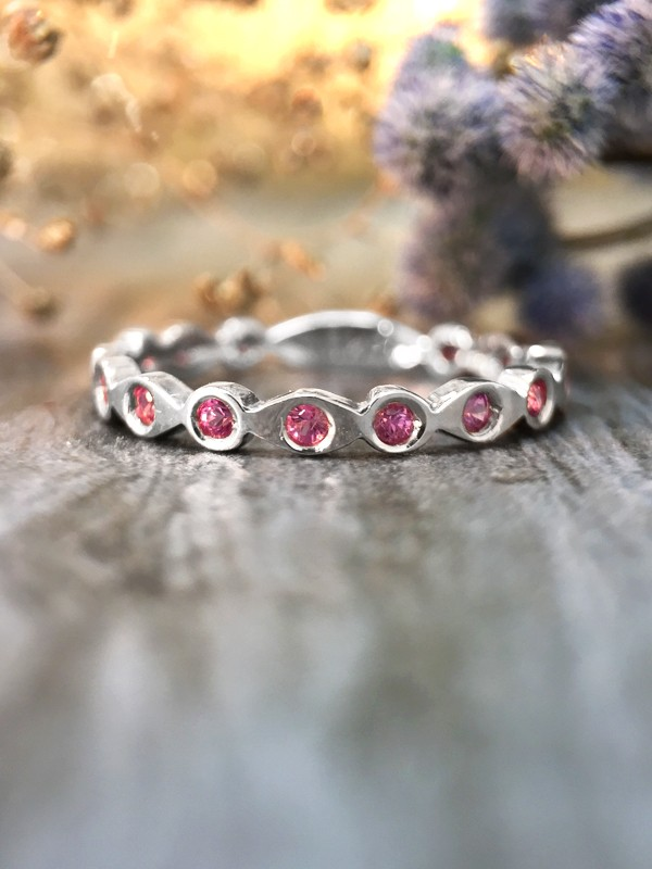 Pink Sapphire Eternity with Sizing Bar Band <Pave> Solid 14K White Gold (14KW) Colored Stone Stackable Ring