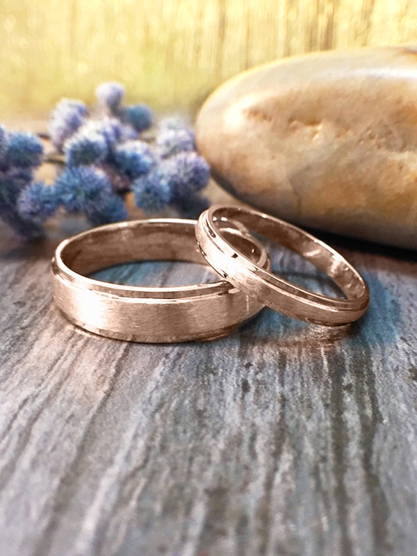SET: 2.8MM and 5.5MM Satin Finish with Polished Rim Matching Wedding Bands Solid 14K Rose Gold (14KR) Rings