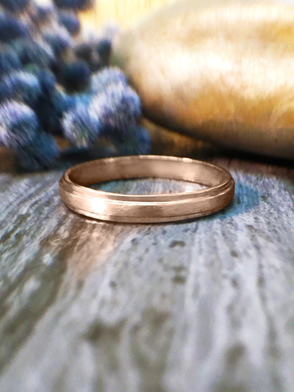 2.8MM Satin Finish with Polished Rim Wedding Band Solid 14K Rose Gold (14KR) Modern Women's Engagement Ring