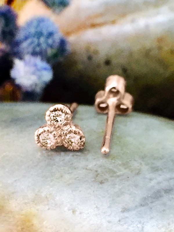 Champagne Diamond Petite Stud <Filigree Bezel> Solid 14K Rose Gold (14KR) Earrings