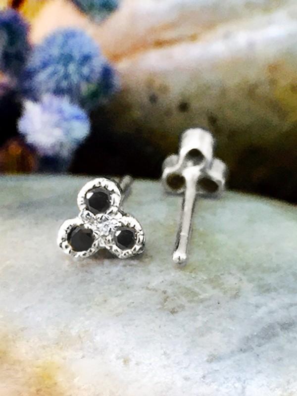 Black Diamond Petite Stud <Filigree Bezel> Solid 14K White Gold (14KW) Earrings