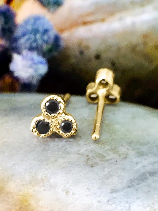 Black Diamond Petite Stud <Filigree Bezel> Solid 14K Yellow Gold (14KY) Earrings