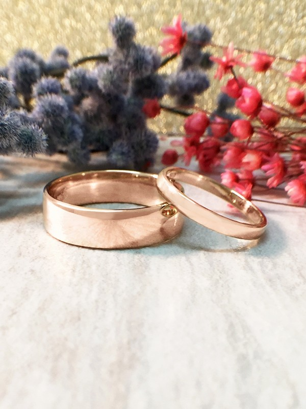 SET: 2.7MM and 6MM Polished Matching Wedding Bands Solid 14K Rose Gold (14KR) Classic Engagement Rings