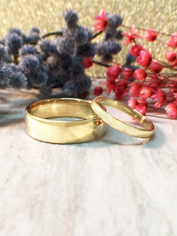 SET: 2.7MM and 6MM Polished Matching Wedding Bands Solid 14K Yellow Gold (14KY) Classic Engagement Rings