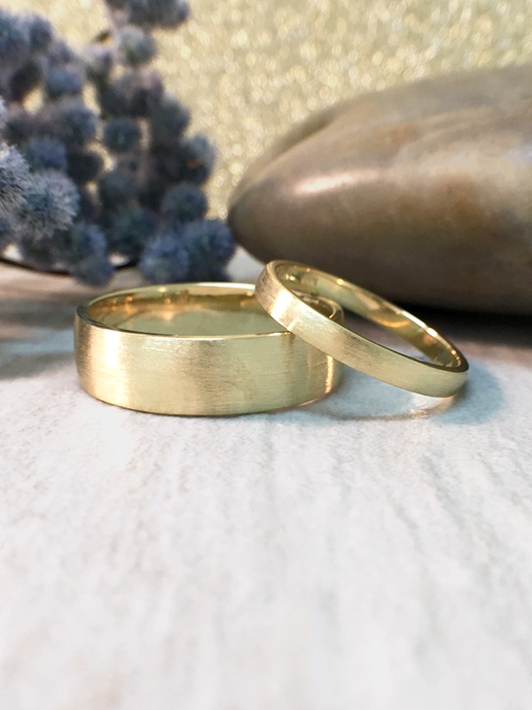 SET: 2.7MM and 6MM Satin Finish Matching Wedding Bands Solid 14K Yellow Gold (14KY) Modern Engagement Rings
