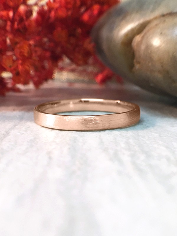 2.7MM Satin Finish Wedding Band Solid 14K Rose Gold (14KR) Stackable Modern Women's Engagement Ring