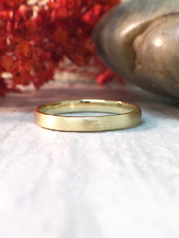 2.7MM Satin Finish Wedding Band Solid 14K Yellow Gold (14KY) Stackable Modern Women's Engagement Ring