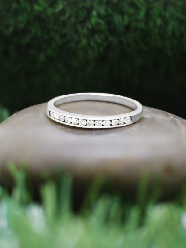 2MM Diamond Wedding Band <Channel> Solid 14K Rose Gold (14KR) Stackable Women's Engagement Ring