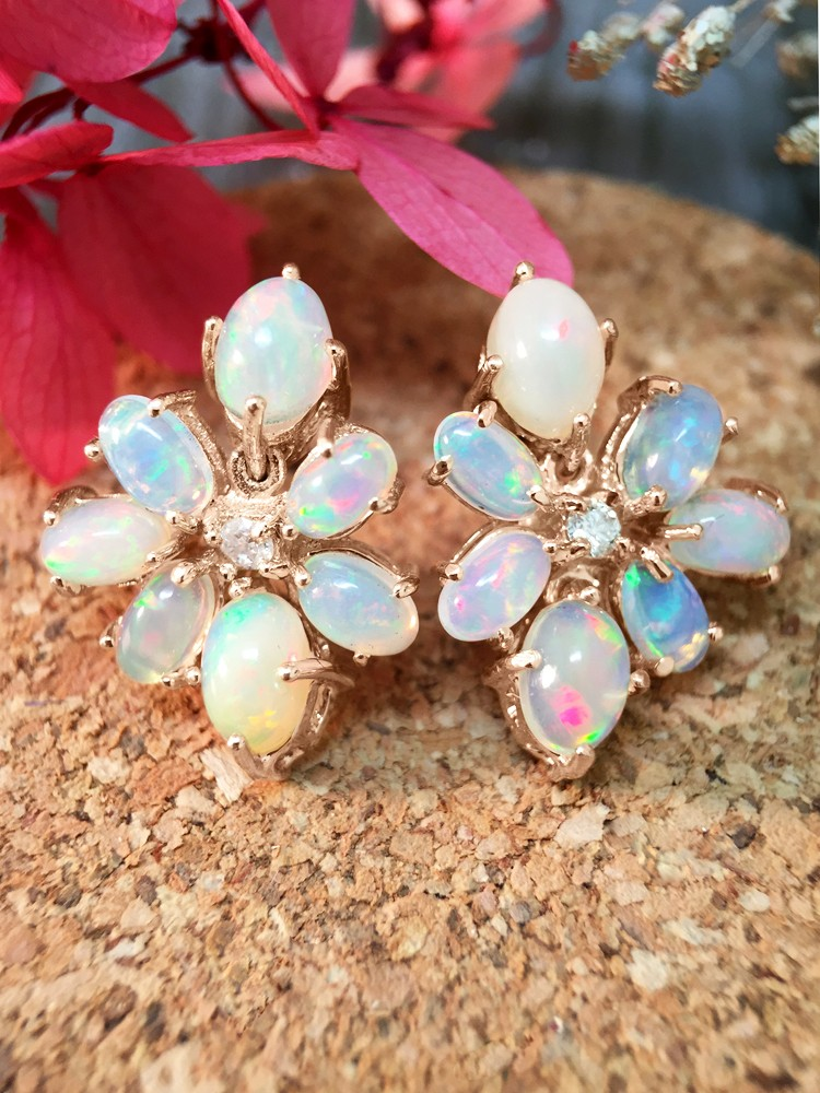 14x19MM Opal and Diamond Cluster Stud <Prong> Solid 14K Rose Gold (14KR) Colored Stone Earrings