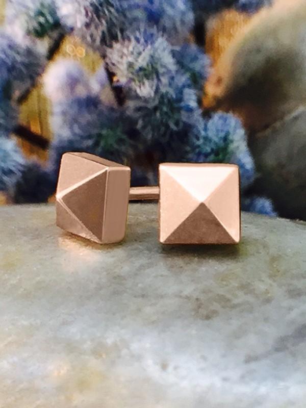 5x5MM Pyramid Stud Solid 14K Rose Gold (14KR) Geometric Minimalist Earrings