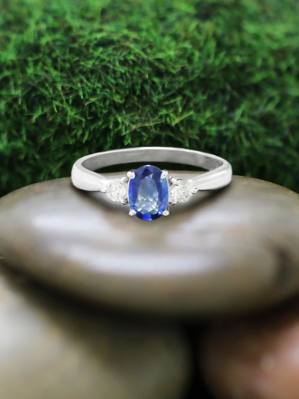 6x4MM Blue Sapphire and Diamond Engagement <Prong> Solid 14K White Gold (14KW) Colored Stone Wedding Ring