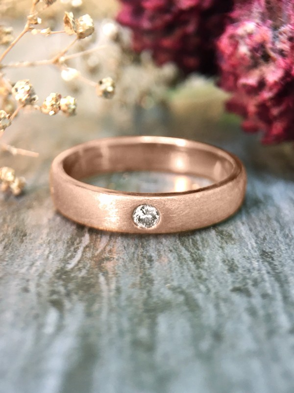 3.8MM Diamond Solitaire Satin Finish Wedding Band <Pave> Solid 14K Rose Gold (14KR) Unisex Engagement Ring