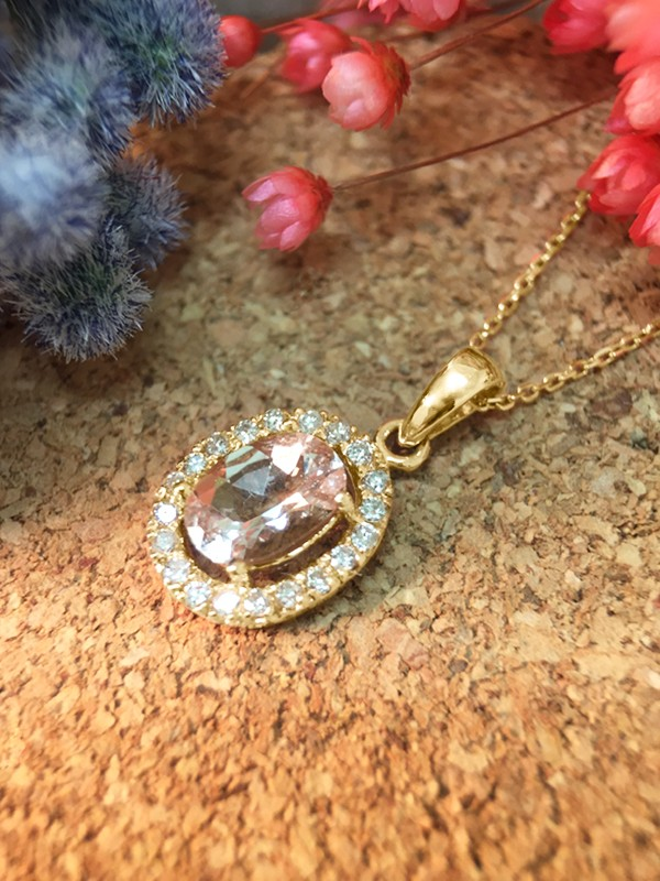 Morganite and Diamond Halo Pendant <Prong> Solid 14K Yellow Gold (14KY) with Bonus 14KY Chain Necklace