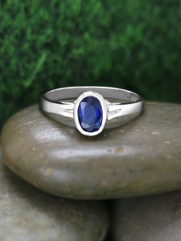 6x4MM Blue Sapphire and Diamond Engagement <Bezel/Pave> Solid 14K White Gold (14KW) Wedding Ring