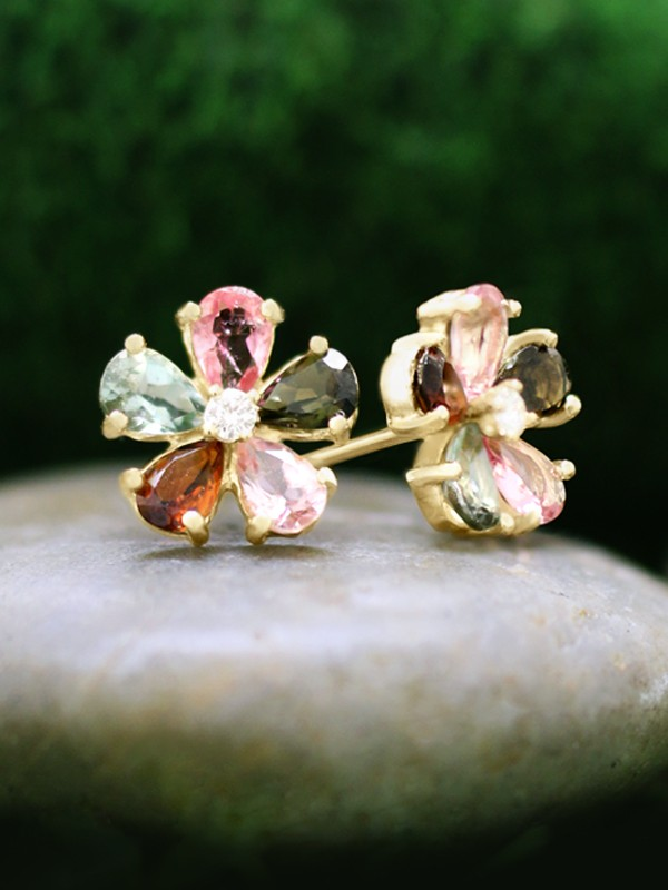 Multicolor Tourmaline and Diamond Stud <Prong> Solid 14K Yellow Gold (14KY) Colored Stone Floral Earrings