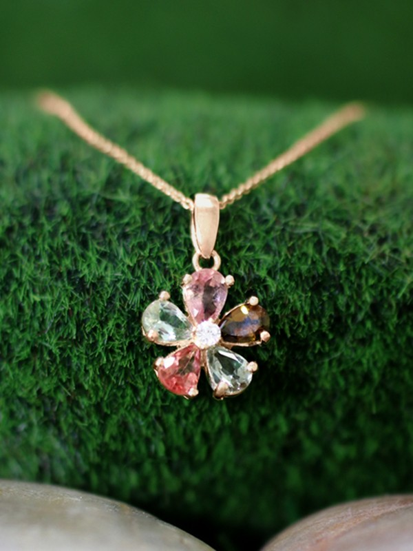 Multicolor Tourmaline and Diamond Pendant <Prong> Solid 14K Rose Gold (14KR) with Bonus 14KR Chain Necklace