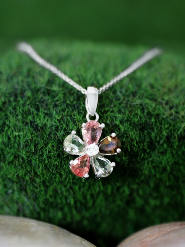 Multicolor Tourmaline and Diamond Pendant <Prong> Solid 14K White Gold (14KW) with Bonus 14KW Chain Necklace
