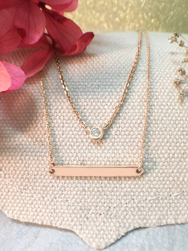 SET: Diamond Pendant <Bezel> Solid 14K Rose Gold (14KR) Necklace and Bar Solid 14KR Chain Necklace
