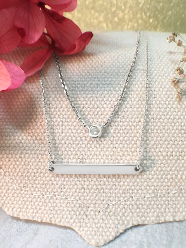 SET: Diamond Pendant <Bezel> Solid 14K White Gold (14KW) Necklace and Bar Solid 14KW Chain Necklace