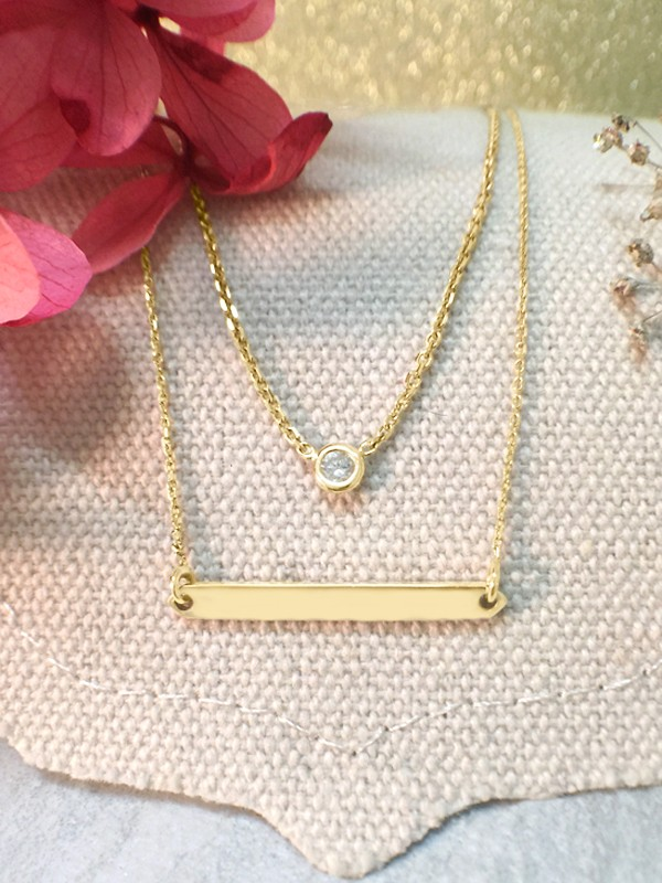 SET: Diamond Pendant <Bezel> Solid 14K Yellow Gold (14KY) Necklace and Bar Solid 14KY Chain Necklace