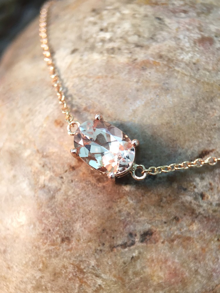 Morganite Pendant <Prong> Solid 14K Rose Gold (14KR) Affordable Colored Stone Chain Necklace
