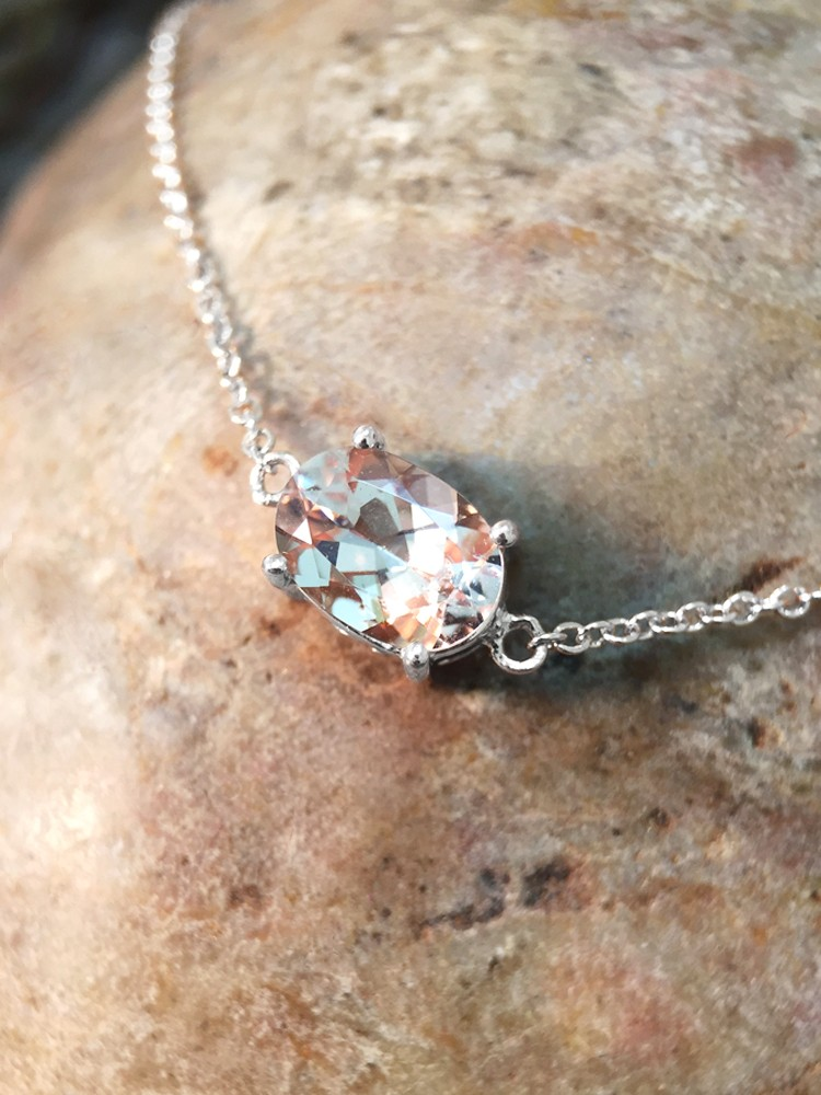 Morganite Pendant <Prong> Solid 14K White Gold (14KW) Affordable Colored Stone Chain Necklace