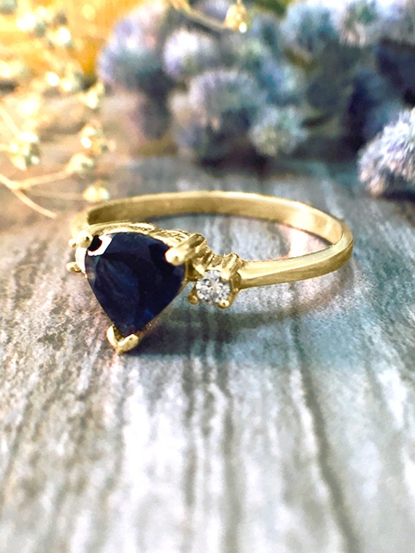 Blue-Green Tourmaline and Diamond Engagement <Prong> Solid 14K Yellow Gold (14KY) Colored Stone Wedding Ring
