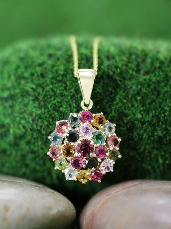 Multicolor Tourmaline Cluster Pendant <Prong> Solid 14K Yellow Gold (14KY) With Bonus 14KY Chain Necklace