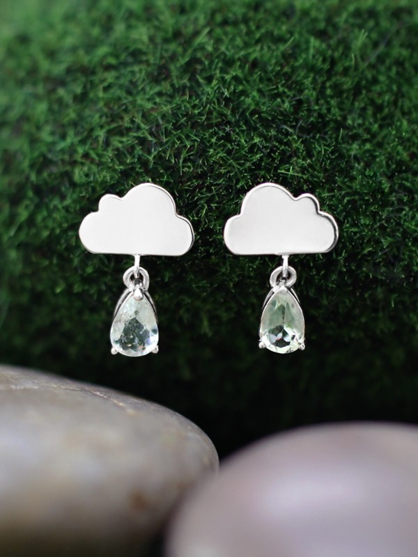 15x9MM Tourmaline Rain Cloud Dangle <Prong> Solid 14K White Gold (14KW) Whimsical Colored Stone Earrings