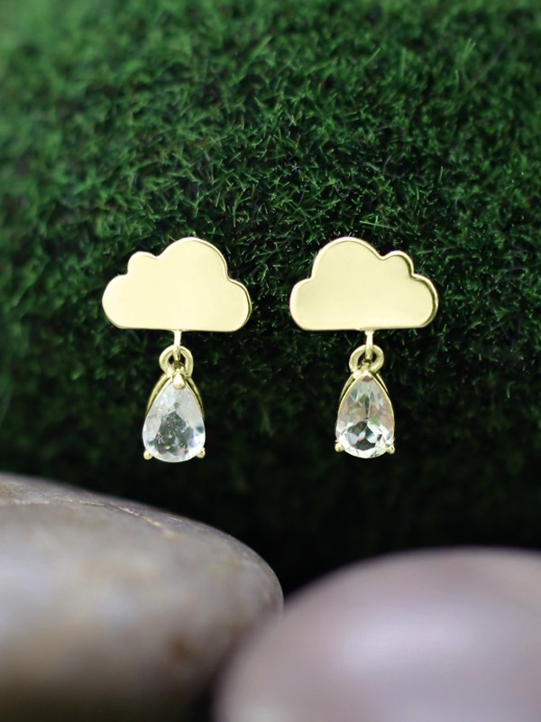 15x9MM Tourmaline Rain Cloud Dangle <Prong> Solid 14K Yellow Gold (14KY) Whimsical Colored Stone Earrings