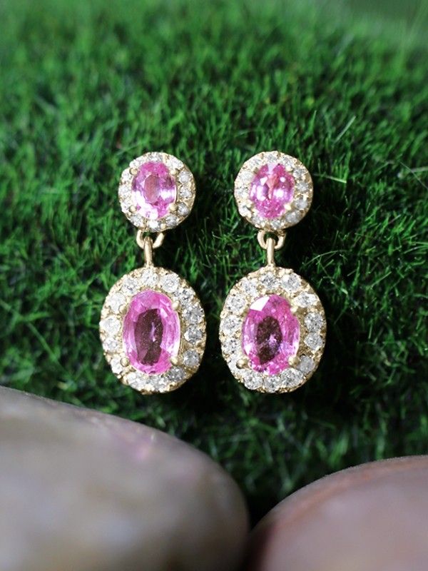 Pink Sapphire and Diamond Halo Dangle <Prong> Solid 14K Yellow Gold (14KY) Colored Stone Earrings