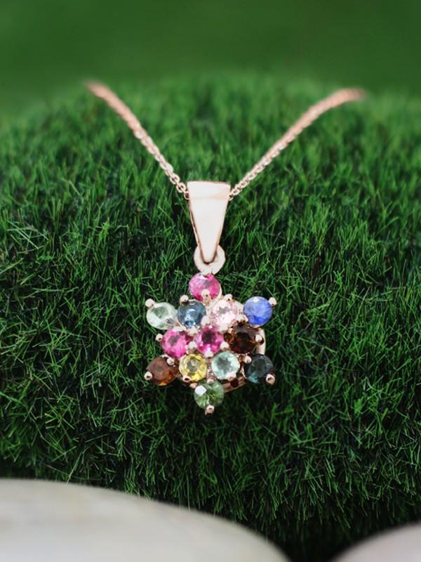 Multicolor Tourmaline Cluster Star Pendant <Prong> Solid 14K Rose Gold (14KR) Bonus 14KR Chain Necklace