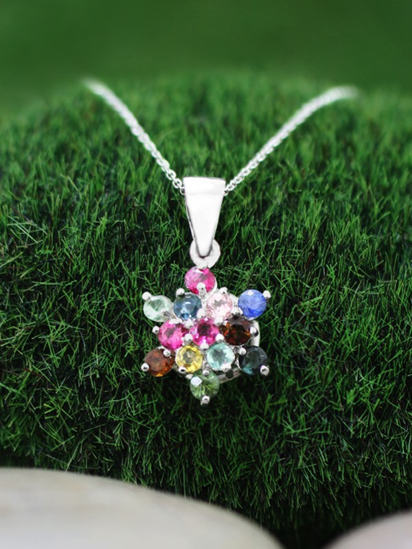 Multicolor Tourmaline Cluster Star Pendant <Prong> Solid 14K White Gold (14KW) Bonus 14KW Chain Necklace