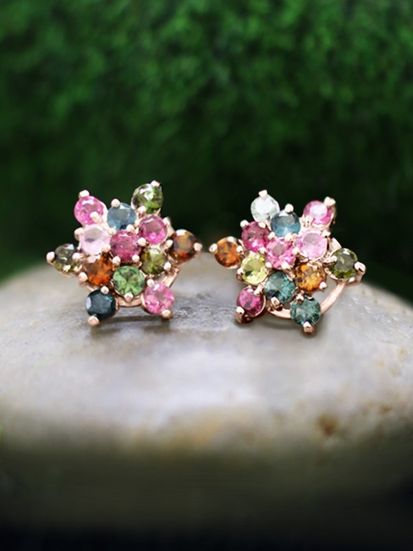 Multicolor Tourmaline Cluster Stud <Prong> Solid 14K Rose Gold (14KR) Colored Stone Six Point Star Earrings