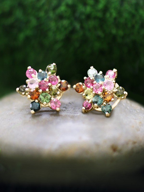 Multicolor Tourmaline Cluster Stud <Prong> Solid 14K Yellow Gold (14KY) Colored Stone Six Point Star Earrings