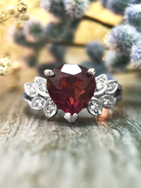 Pink Tourmaline and Diamond Engagement <Prong/Pave> Solid 14K White Gold (14KW) Colored Stone Wedding Ring