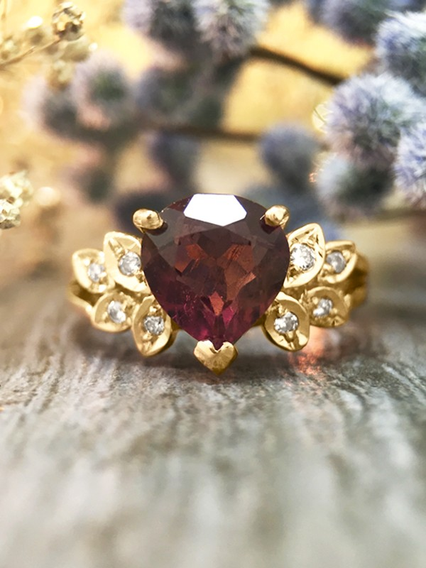 Pink Tourmaline and Diamond Engagement <Prong/Pave> Solid 14K Yellow Gold (14KY) Colored Stone Wedding Ring
