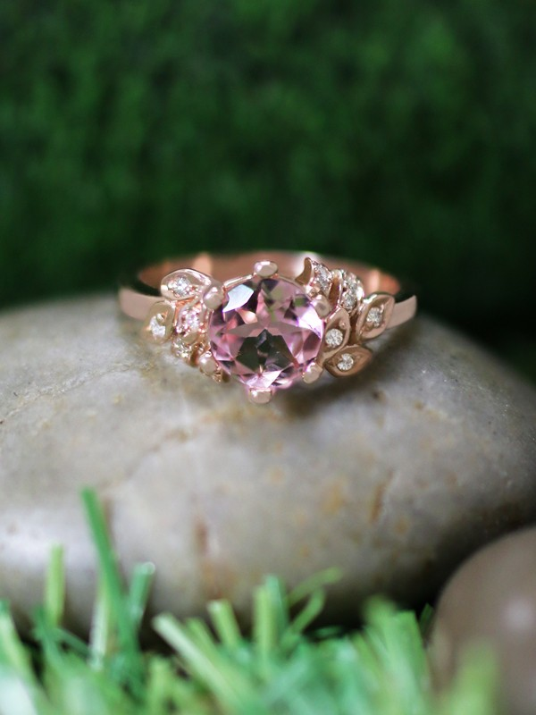 Pink Tourmaline and Diamond Engagement <Prong/Pave> Solid 14K Rose Gold (14KR) Colored Stone Wedding Ring