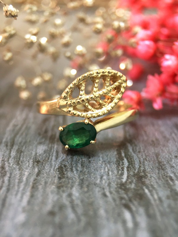 6x4MM Emerald Filigree Leaf <Prong> Solid 14K Yellow Gold (14KY) Colored Stone Wrap Ring