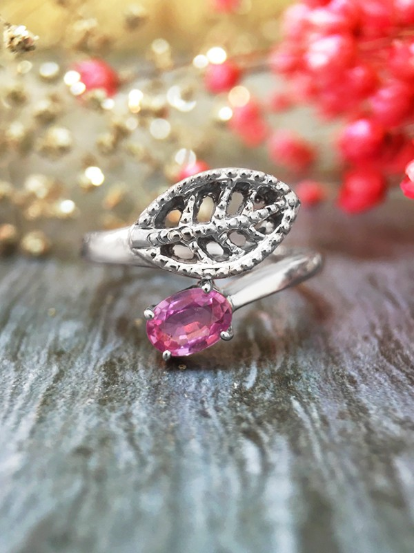 6x4MM Pink Sapphire Filigree Leaf <Prong> Solid 14K White Gold (14KW) Colored Stone Wrap Ring