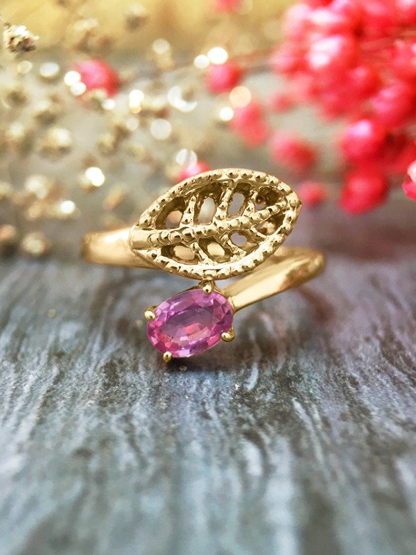 6x4MM Pink Sapphire Filigree Leaf <Prong> Solid 14K Yellow Gold (14KY) Colored Stone Wrap Ring