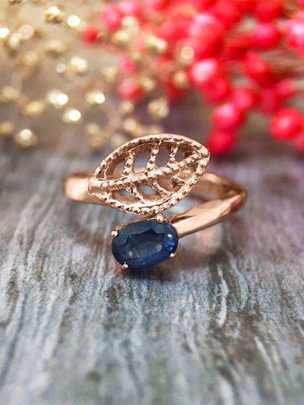 6x4MM Blue Sapphire Filigree Leaf <Prong> Solid 14K Rose Gold (14KR) Colored Stone Wrap Ring